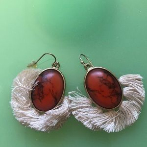 Orange marble effect earrings